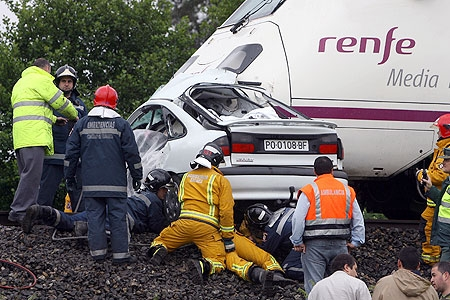 Accidente coche-tren
